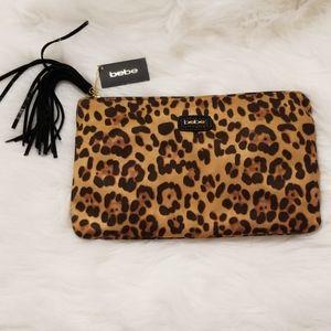 BEBE leopard clutch